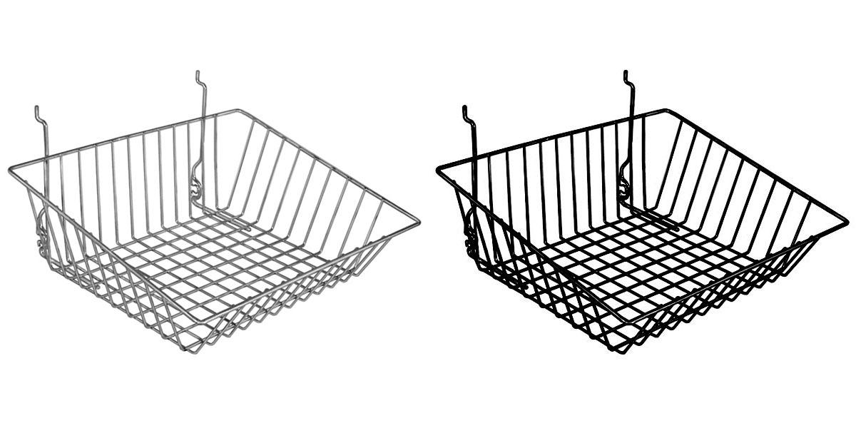 shallow front sloping chrome  black basket trio display