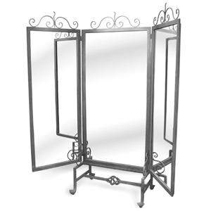 Three Way Floor Mirror Raw Steel