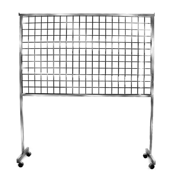 Grid screen rolling rack trio display for Portable t shirt display