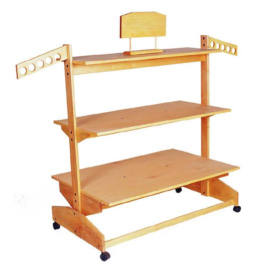 three tier wooden shelf rack trio display. Black Bedroom Furniture Sets. Home Design Ideas